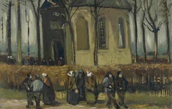 """Pintura """"Congregación abandonando la iglesia reformada en Nuenen"""""""