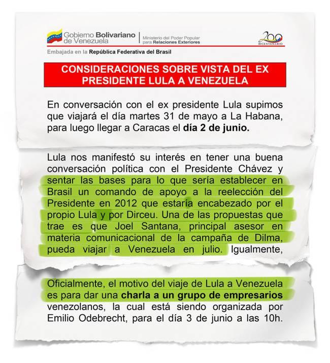 Extractos de cable diplomático escrito por el entonces embajador de Venezuela en Brasil Maximilien Arvelaiz en 2011. / Veja