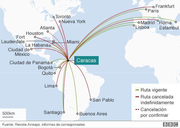 Mapa sobre vuelos a Venezuela