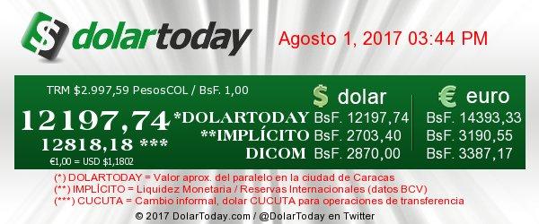 dolar bolivar 1 de agosto 2017