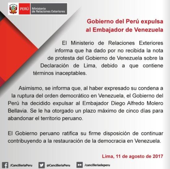 peru expulsa emabajador de venezuela