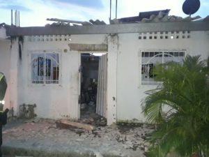 Así quedó una de las 4 viviendas afectadas por la explosión.