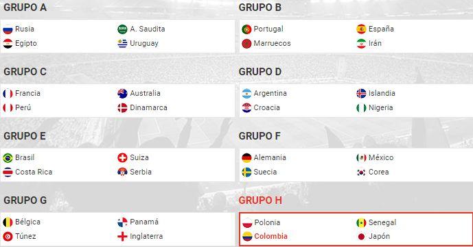 Grupos Mundial Rusia 2018