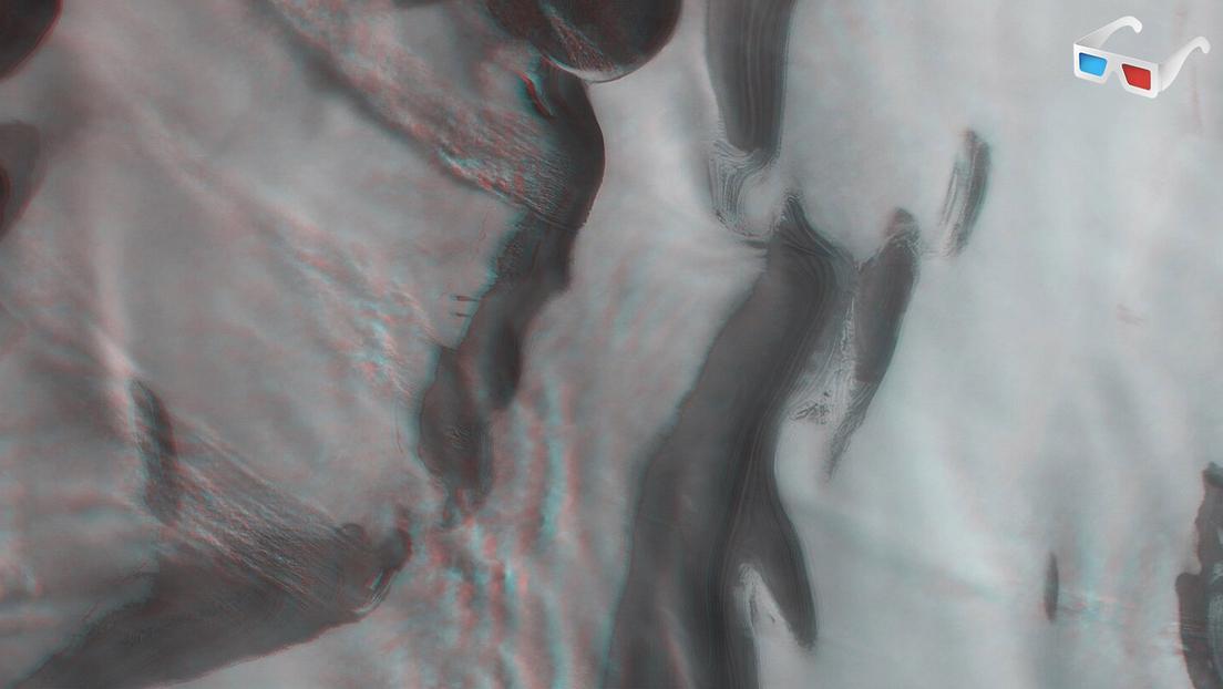 polo norte de Marte en 3D